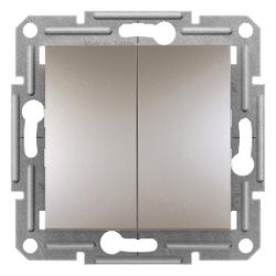 Schneider Electric - 1 KUTUPLU 2 DEVRELİ ANAHTAR VİDASIZ TERMİNALLER ÇERÇEVESİZ BRONZ 3606480727535