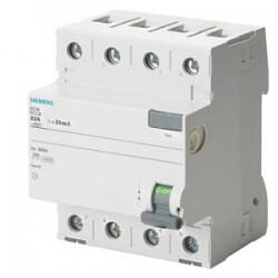 Siemens - 4X25A 400V 300mA 70MM TRİFAZE 3FAZ-NÖTR BAĞLANTILI KAÇAK AKIM KORUMA RÖLESİ 4001869428000