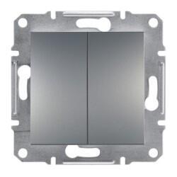 Schneider Electric - ASFORA ÇELİK 1 KUTUP 2 DEVRE ÇERÇEVESİZ ANAHTAR 3606480730146