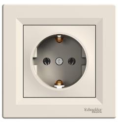 Schneider Electric - SCHNEİDER ELECTRİC ASFORA TEK SOKET ÇIKIŞI YAN TOPRAKLAMALI KREM 3606480526091 (ÇERÇEVESİZ)