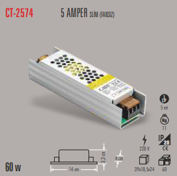 CATA SLİM LED TRAFO 5 AMPER (İÇ MEKAN) CT-2574