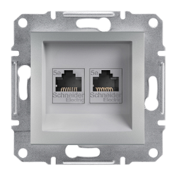 Schneider Electric - SCHNEİDER ELECTRİC ÇİFT VERİ ÇIKIŞI CAT5E UTP ÇERÇEVESİZ ALÜMİNYUM 3606480728891