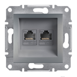 Schneider Electric - SCHNEİDER ELECTRİC EPH4400162 ASFORA ÇELİK İKİLİ RJ45 CAT5E UTP DATA PRİZİ 3606480730634