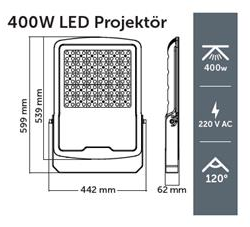 INOLED 400W LED PROJEKTÖR 6500K