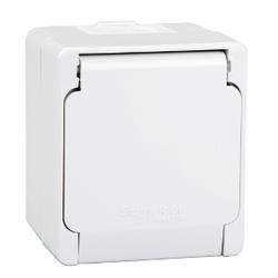 Schneider Electric - SCHNEİDER ELECTRİC NEMLİYER TEKLİ PRİZ YAN TOPRAKLAMA 2P + E YÜZEY GRİ 8690495032079