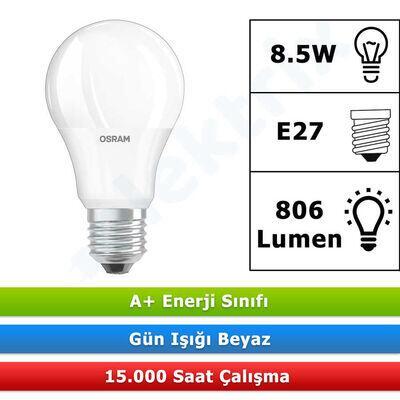 OSRAM VALUE CLA60 8,5W/865 BEYAZ E27 DUYLU LED AMPUL 806 LÜMEN (10 ADET)