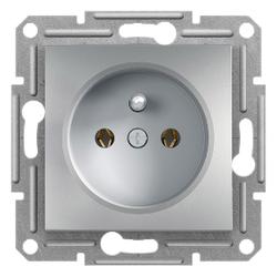 Schneider Electric - SCHNEİDER ELECTRİC PİM TOPRAKLAMALI TEKLİ PRİZ ÇERÇEVESİZ ALÜMİNYUM 3606480728631